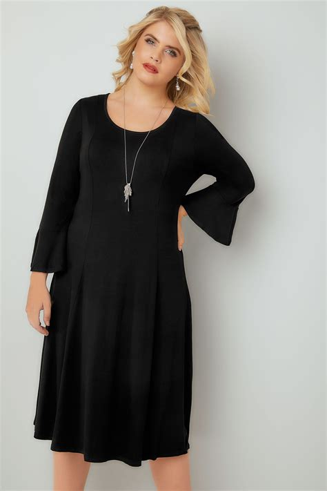 Sleeve Fit Dress black fit flare jersey dress with flute sleeves plus