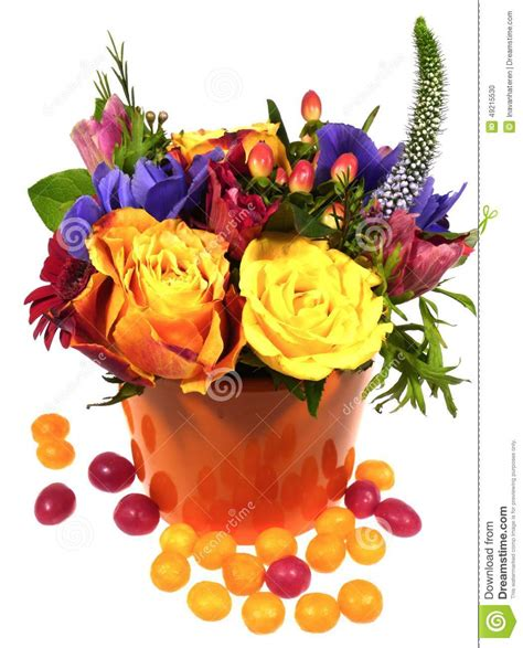 colorful flowers picture orange flowers in bloom light an isolated bright bouquet with yellow roses stock photo