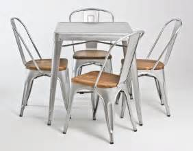 Cafe Table And Chairs Set Retro Industrial Look Galvanized Steel Dining Collection