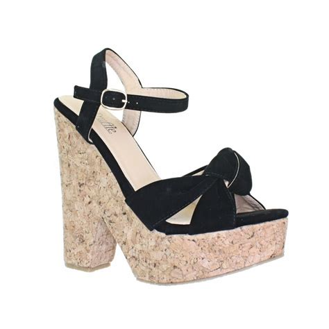 high cork wedge sandals womens cut out cork wedge heel platform knot high