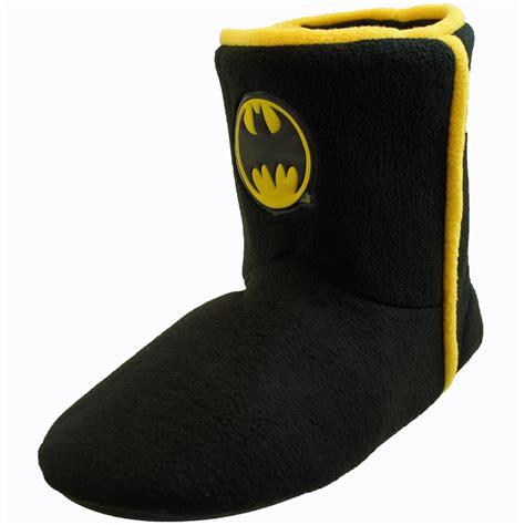 batman slippers mens boys childrens mens black fleece batman bootee style