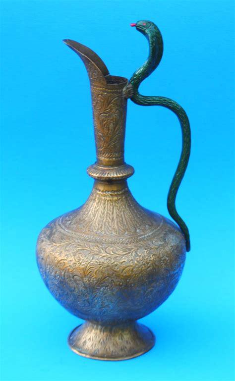 Vintage Brass Vase Vintage Brass Ewer With Enameled Cobra Handle Mm700 For