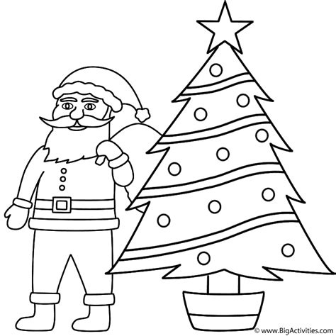 santa christmas tree coloring page santa claus with a christmas tree coloring page christmas