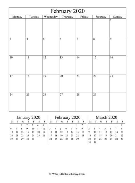 february  editable calendar vertical layout
