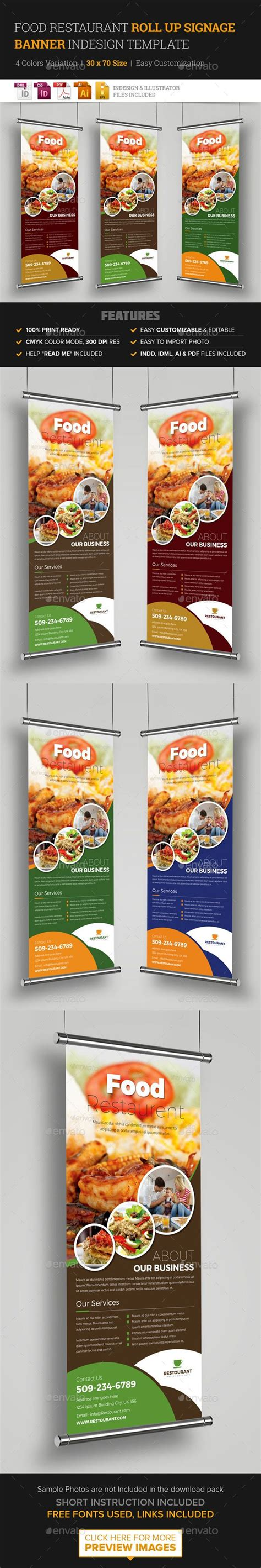 food restaurant roll up banner signage template magazine