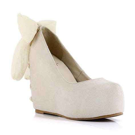 fashion suede back bow decor wedges womens wedges
