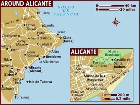 map of alicante area alicante map of spain ireland map