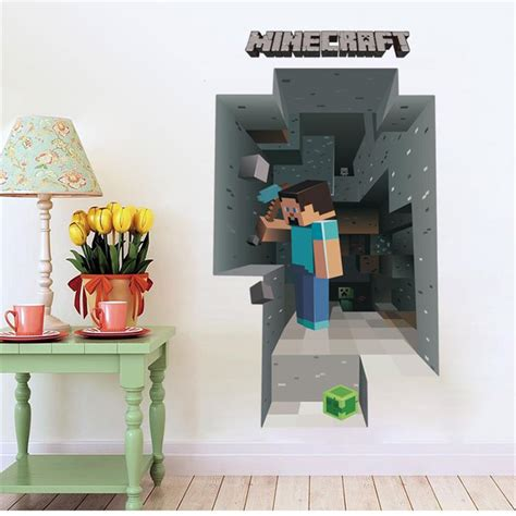 2017 newest minecraft wall stickers for rooms 3d