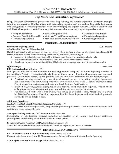 Resume Sles For Administrative Support Administrative Professional Resume Exle Resumes Professional Resume Free