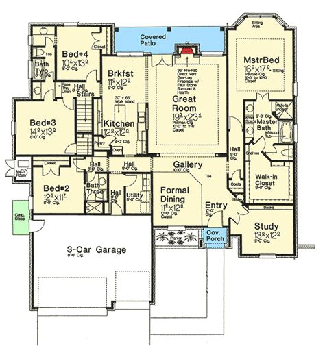 european house plans one story one story european house plan with bonus space 48303fm