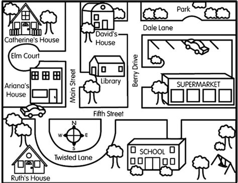 get printable directions learn how to make maps coloring the road and map activities