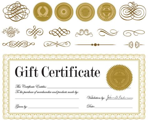 blank gift card ai template printable gift certificates borders blank certificates