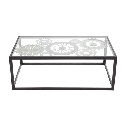 Coffee Table Tempered Glass Metal And Tempered Glass Coffee Table With 3 Clocks W 110cm Clocks Maisons Du Monde