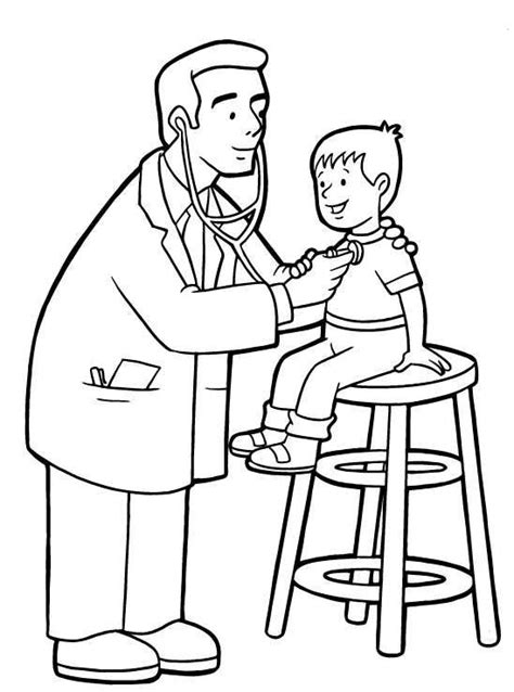 coloring page of a doctor doctor checking up a child in community helper coloring
