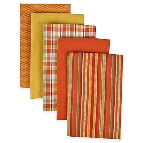 performance 5 pack kitchen towels in spice bed bath beyond