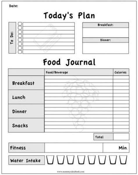 printable food journals for weight loss food journal printable weight loss health pinterest