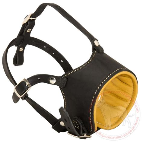 leather muzzle get padded anti barking leather muzzle for corso walking