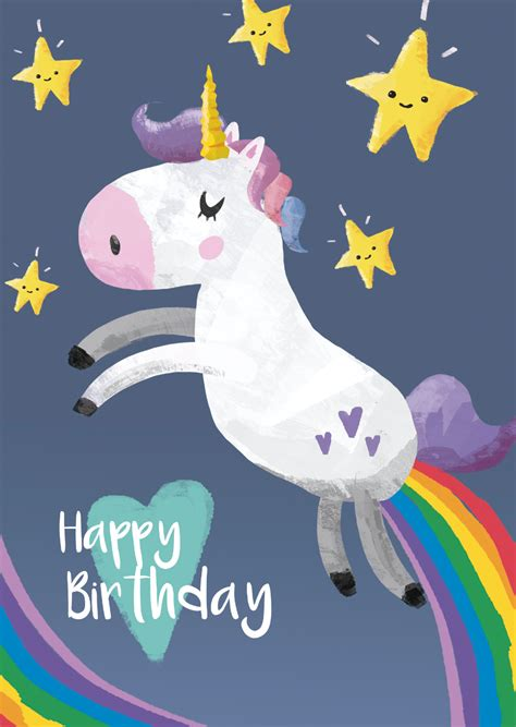 download nudsistenkids bilder 6 12 yearsru free happy birthday unicorn 9 printable cards set 50 off