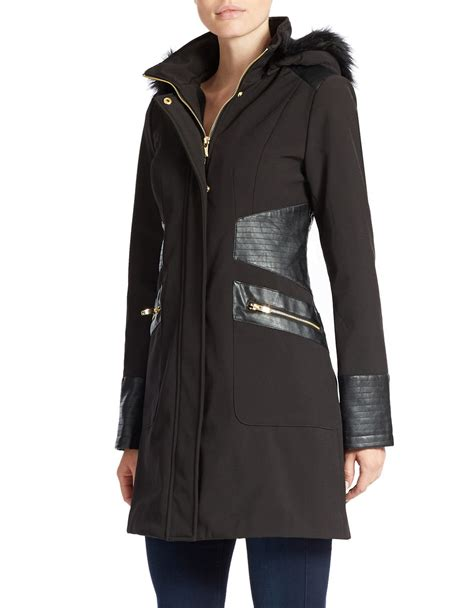 Via Spiga Jacket For by Lyst Via Spiga Hooded Faux Fur Lined Leatherette Trim