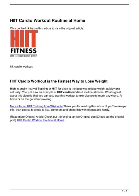 hiit cardio workout routine at home