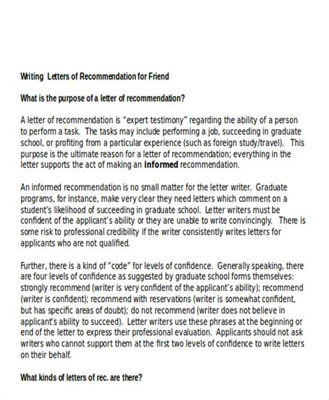 Recommendation Letter From Friend To Student Sle Reference Letter For Student Exles In Pdf Word