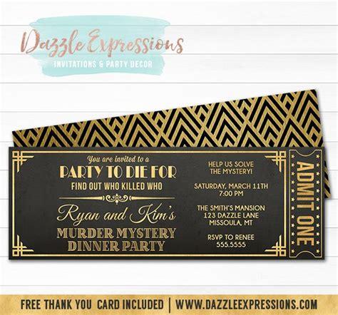 Template Murder Mystery Card by Printable Murder Mystery Dinner Ticket Invitation