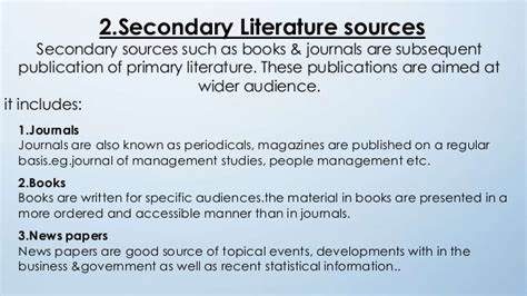 Literature Reviews Contain Two Types Of Data by Literature Review Primary Secondary Sources