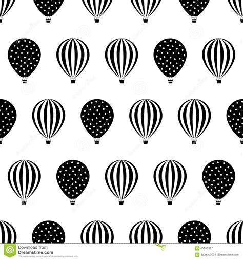 black and white pattern for babies black and white hot air balloons design stock vector