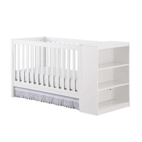 2 In 1 Convertible Crib With Storage In White Da1412w Convertible Cribs With Storage