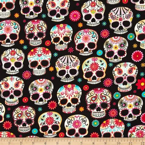 day of the dead background day of the dead sugar skulls black background cotton