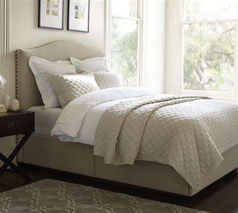 camelback upholstered headboard raleigh upholstered camelback headboard storage platform bed pottery barn furniture
