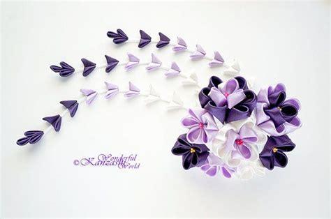 Jepit Rambut Slip Buaya Set 3 tsumami kanzashi wedding fabric flower hair comb purple