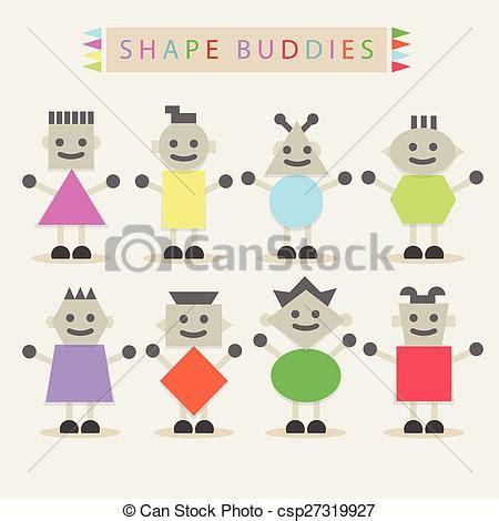 Minimal Minimal Basic Offwhite shape characters on white shaped buddies