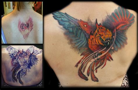 color phoenix coverup back tattoo by maximilian rothert