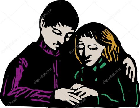 comfort in being sad woodcut illustration of man giving comfort to sad woman