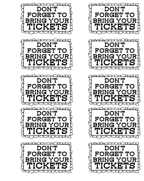 printable sheet of tickets more carnival party ideas and printable freebies
