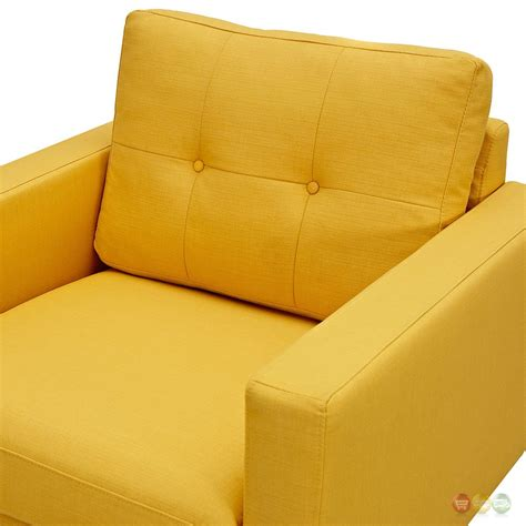 Modern Yellow Armchair Uma Modern Yellow Fabric Button Tufted Armchair With