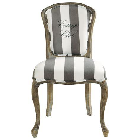 chaise en coton gris et blanc cottage club maisons du monde