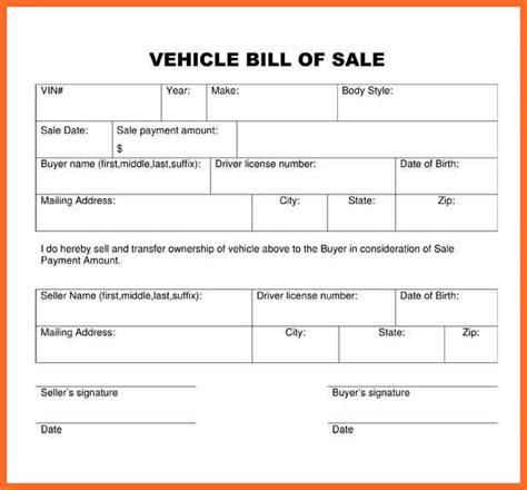 blank vehicle bill of sale pdf blank bill of sale form soap format