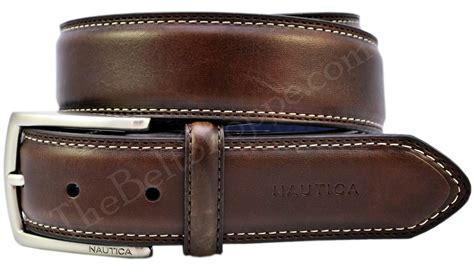 s stitched casual leather belt brown