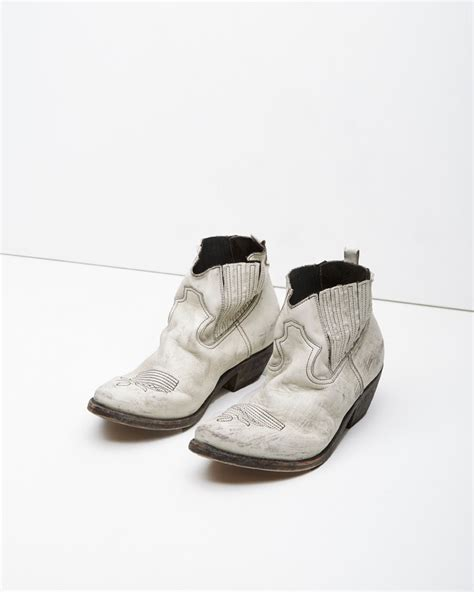 golden goose boots lyst golden goose deluxe brand crosby boot in white