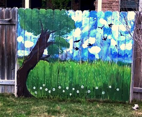 Exterior Wall Murals painted fence ideas backyard fence decorating design