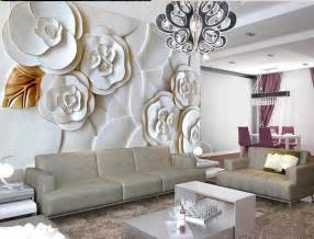 Paper Wall Murals 3d White Embossed Flowers Paper Wall Print Decal Wall Deco