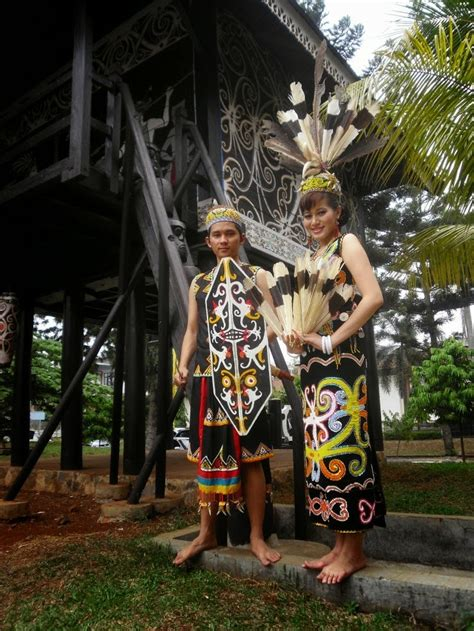 Baju Adat Orang Dayak sky fly kalimantan timur tarian adat rumah adat pakaian adat senjata tradisional makanan
