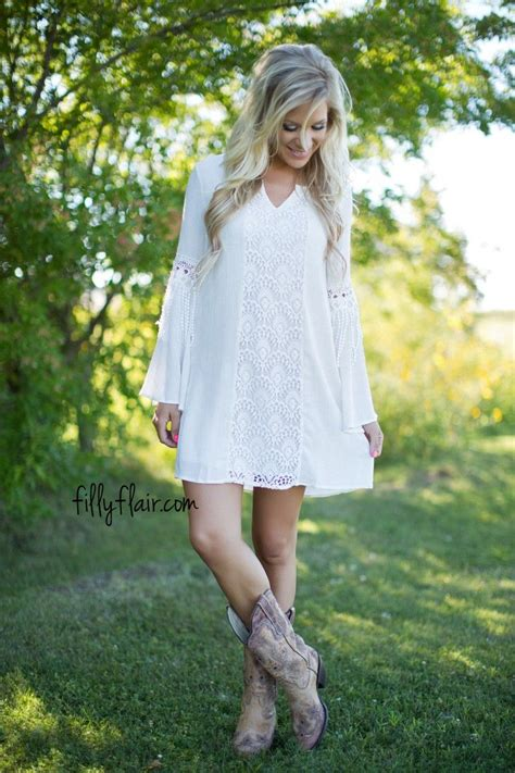 short white dresses on pinterest cowboy boot outfits the perfect dress to wear with cowboy boots boho outfit