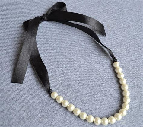 Black Pearl Pendant Ribbon Necklace pearl necklace ivory pearl necklace ribbon ties necklace black ribbon glass pearl necklace