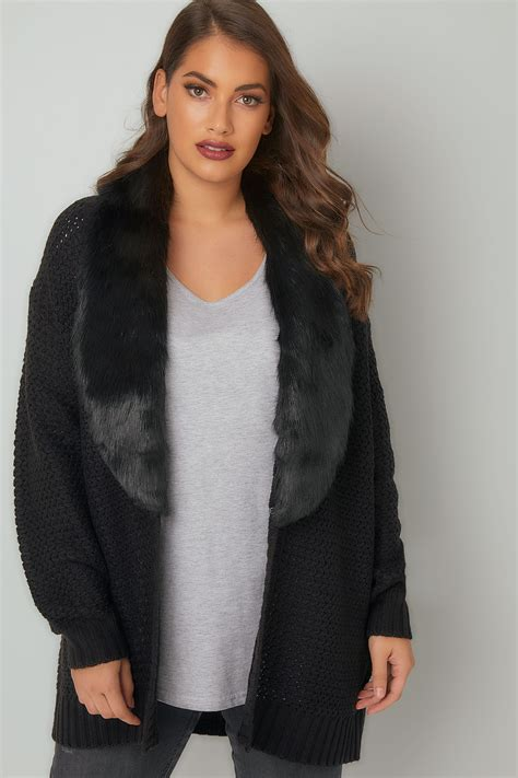 Modell S Gift Card Balance Check - black knitted cardigan with faux fur collar plus size 16 to 36