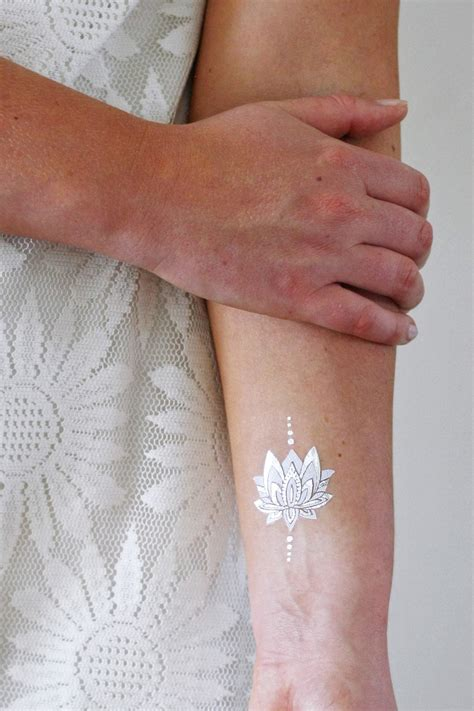 white temporary tattoo silver and white lotus temporary tattoos temporary
