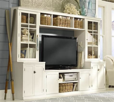 pottery barn media cabinet white logan medium media suite pottery barn
