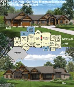 plan 23609jd one story mountain ranch home outdoor